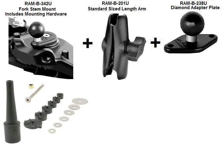 Ram Mount Parts >> Motorcycle Fork Stem Mount With Standard Sized Length Arm And Universal Diamond Plate