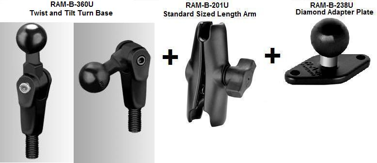 Ram Mount Parts >> Motorcycle Twist And Tilt Mirror Base Standard Sized Length Arm And Ram Hol Ap9u Apple Iphone 4 Holder 4th Gen 4s Without Case Or Cover