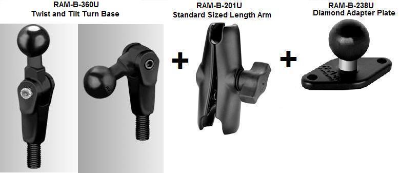 Ram Mount Parts >> Ram B 181 Ap9u Ram Mount Motorcycle Twist And Tilt Mirror Base And